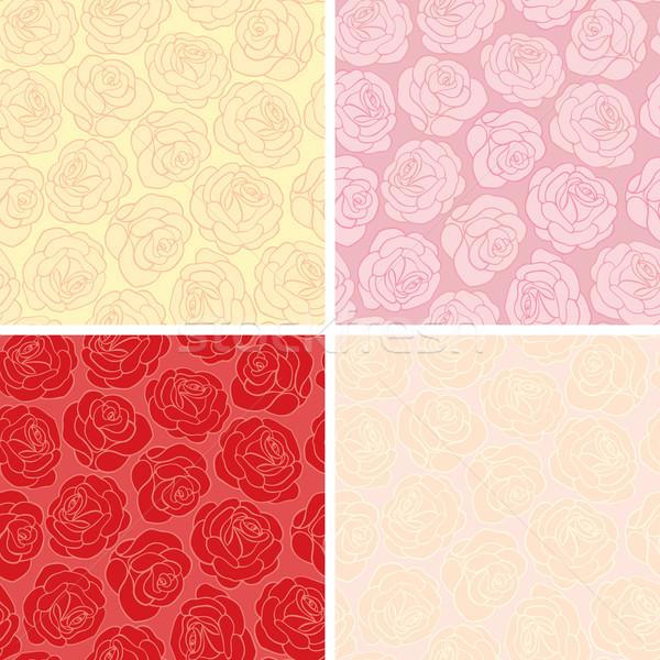 Végtelenített rózsák dekoratív grafikus szín végtelen minta Stock fotó © brahmapootra