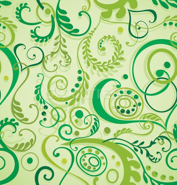 Foto d'archivio: Senza · soluzione · di · continuità · floreale · decorativo · foglie · erba