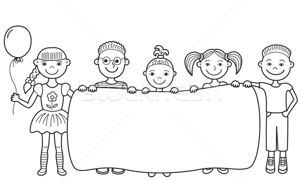 Cartoon children holding empty banner vector illustration ...