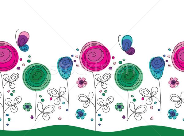 Művészi színes végtelenített virágminta végtelen minta rajzolt Stock fotó © brahmapootra