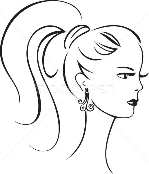 Gyönyörű retro lány elegáns vonal művészet Stock fotó © brahmapootra