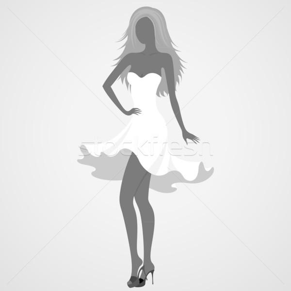 シルエット ダンサー 少女 白いドレス 女性 ファッション ストックフォト © brahmapootra