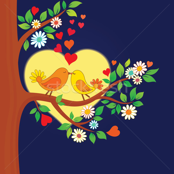 Two kissing birds on the tree Stock photo © brahmapootra