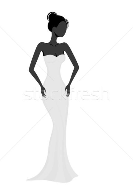 Sziluett lány fehér estélyi ruha buli modell Stock fotó © brahmapootra