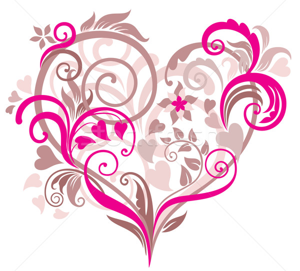 Gyönyörű szív virágmintás pasztell tavasz szeretet Stock fotó © brahmapootra