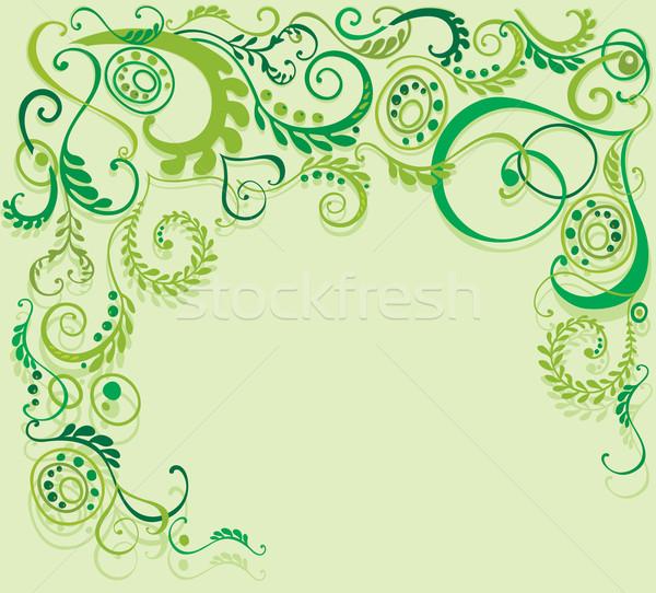 Virágmintás illusztráció zöld dekoratív tavasz háttér Stock fotó © brahmapootra