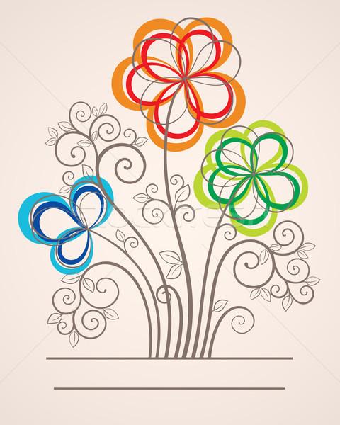 Színes absztrakt virágok vektor kártya illusztráció Stock fotó © brahmapootra
