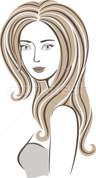 Divat lány modell barna haj nő arc Stock fotó © brahmapootra