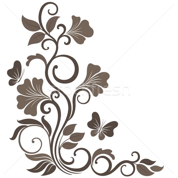 フローラル セピア 飾り コーナー 花 ストックフォト © brahmapootra