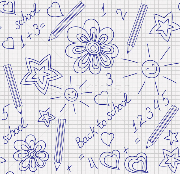 Back to school hand-drawn seamless pattern Stock photo © brahmapootra