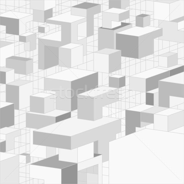 Absztrakt 3D szürke terv vektor 3d illusztráció Stock fotó © brahmapootra
