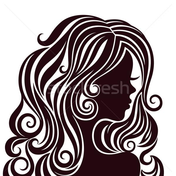 Sziluett fiatal hölgy fényűző haj feketefehér Stock fotó © brahmapootra