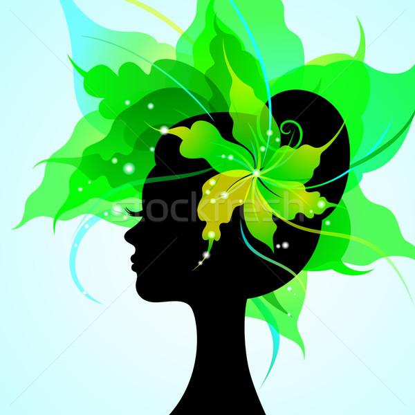 Eps10 シルエット 美しい 若い女性 花 髪 ストックフォト © brahmapootra