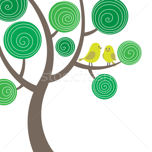 Stock photo: Decorative composition with two birds on the tree