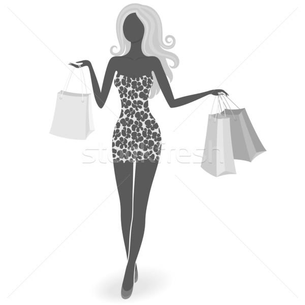 シルエット ショッピング 少女 孤立した 豪華な ショッピングバッグ ストックフォト © brahmapootra