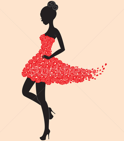 Dancer girl in dress of roses Stock photo © brahmapootra