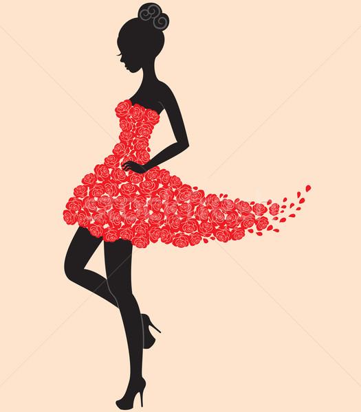 Dançarina menina vestir rosas jovem belo Foto stock © brahmapootra