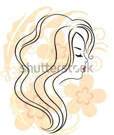 Sziluett gyönyörű fiatal nő elegáns feketefehér vonal Stock fotó © brahmapootra