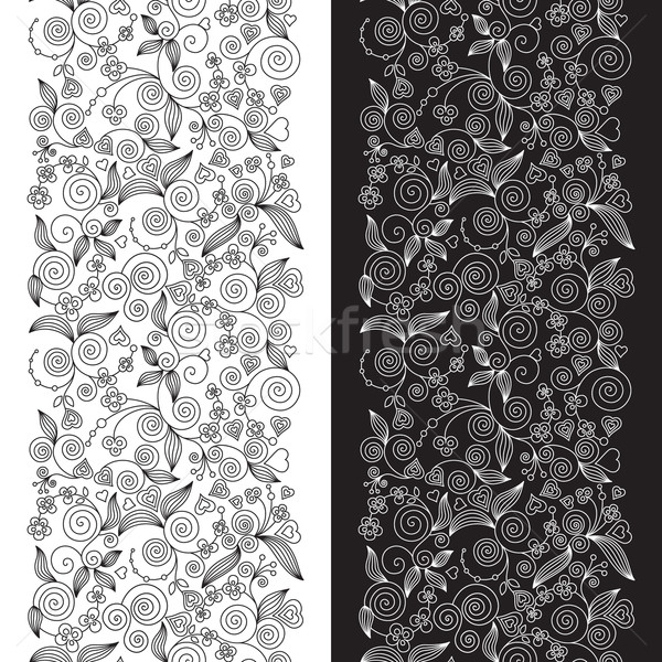 装飾的な 花 2 垂直 葉 ストックフォト © brahmapootra
