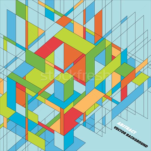 抽象的な 3D ベクトル デザイン カラフル 3次元の図 ストックフォト © brahmapootra