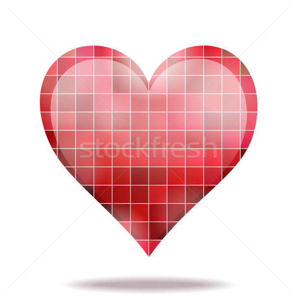 Abstract scarlet mosaic 3D heart icon Stock photo © brahmapootra