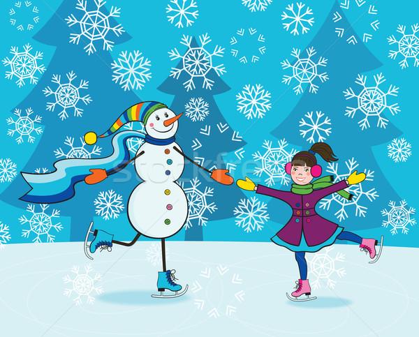 少女 雪だるま スケート 幸せ 女の子 面白い ストックフォト © brahmapootra