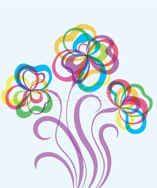 Décoratif eps10 résumé fleurs coloré dessinés à la main Photo stock © brahmapootra