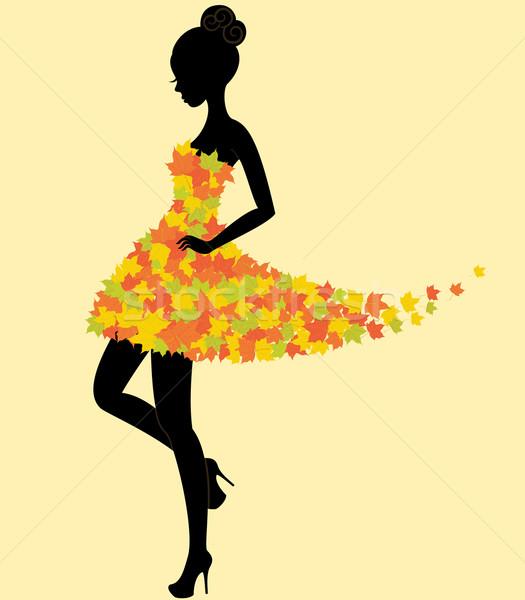 ダンサー 少女 ドレス 紅葉 シルエット 小さな ストックフォト © brahmapootra