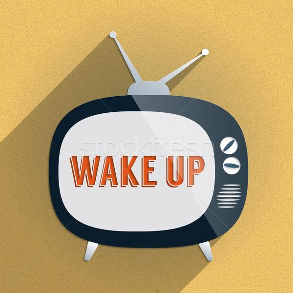 Retro TV and the Phrase 'Wake Up' on the Screen Stock photo © Bratovanov