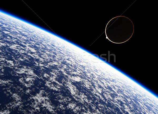 Halo atmosfeer aarde wolken zon wereld Stockfoto © Bratovanov