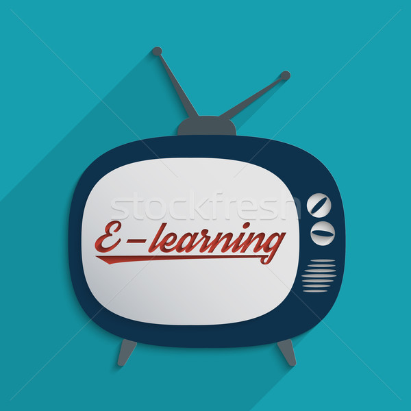Online oktatás globális kommunikáció oktatás terv illusztráció televízió Stock fotó © Bratovanov