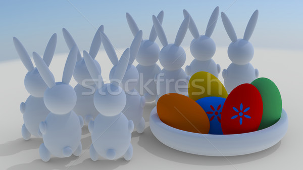 Пасху Кролики пасхальных яиц цветок синий красный Сток-фото © Bratovanov