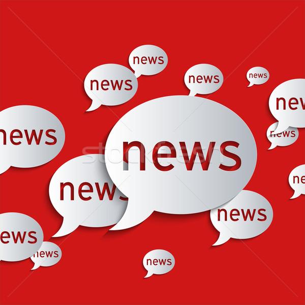 Hírek léggömbök piros absztrakt 3D papír Stock fotó © Bratovanov