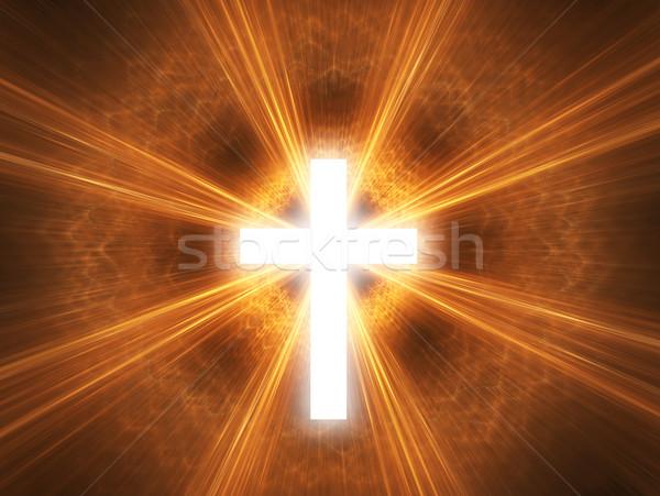 Kruis stralen licht achtergrond kerk Stockfoto © Bratovanov