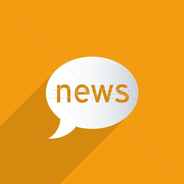 Hírek léggömb narancs absztrakt 3D papír Stock fotó © Bratovanov