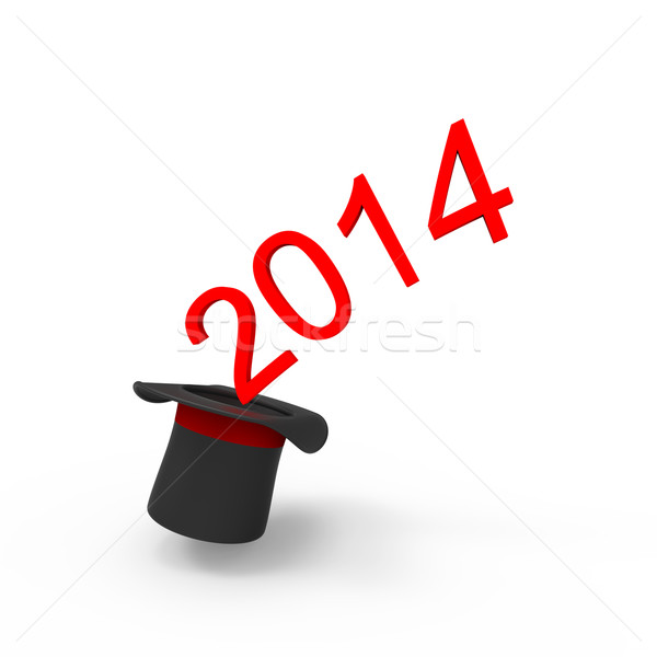 Seda seis ano novo 2014 isolado branco Foto stock © Bratovanov