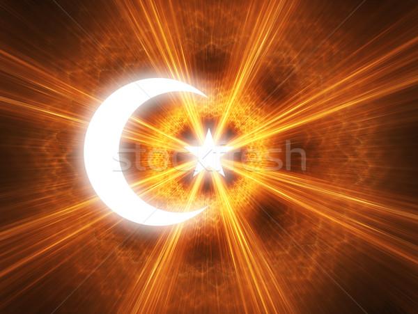 полумесяц звездой символ Ислам свет знак Сток-фото © Bratovanov
