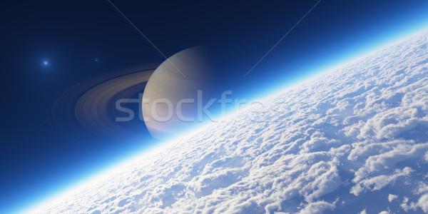 Atmosfer elemanları görüntü gezegen halkalar gündoğumu Stok fotoğraf © Bratovanov