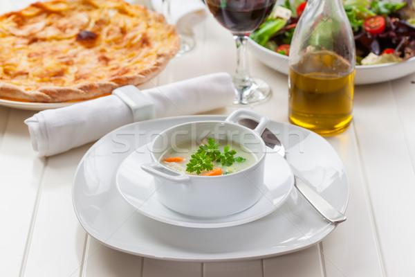 Vegetable soup with bulgur Stock photo © brebca