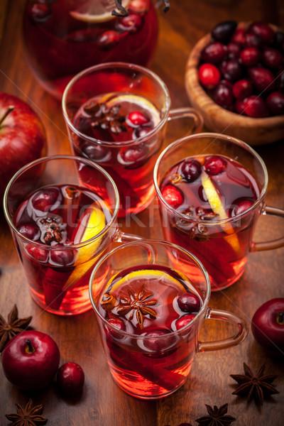 Gafas caliente invierno Navidad frutas vino Foto stock © brebca