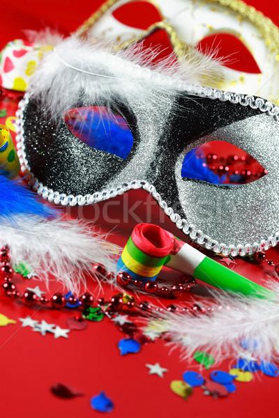 Karnevál buli kellékek új év születésnapi buli jókedv Stock fotó © brebca