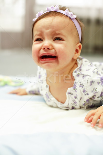 Huilen baby meisje gezicht triest kid Stockfoto © brebca