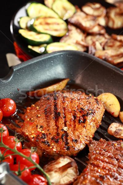 Сток-фото: стейк · гриль · растительное · грибы · ресторан