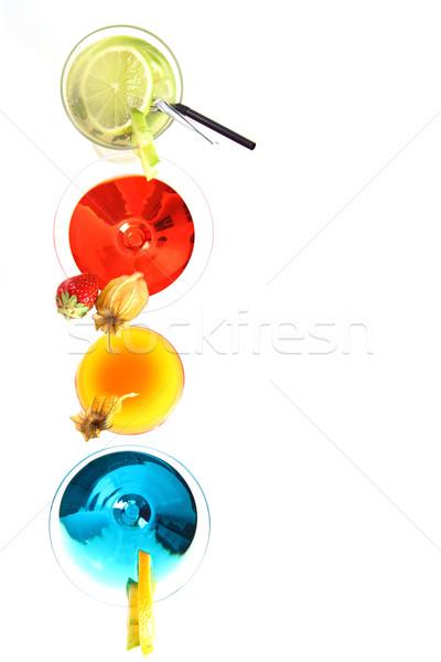 Koktélok copy space különböző gyümölcsök fehér étel Stock fotó © brebca