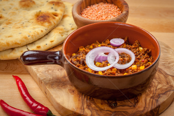 Mexican chilli con Carne with red lentils Stock photo © brebca