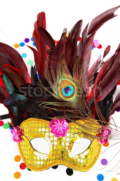 Carnaval masker confetti witte disco leuk Stockfoto © brebca