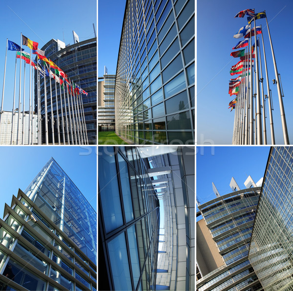 европейский парламент коллаж здании небе искусства Сток-фото © brebca