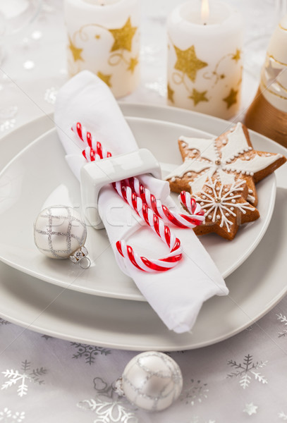Place setting in white for Christmas Stock photo © brebca