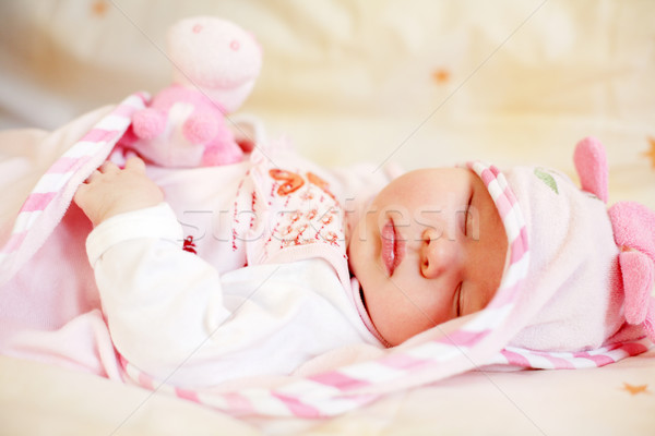 寝 赤ちゃん 小 テディベア 明るい 家族 ストックフォト © brebca