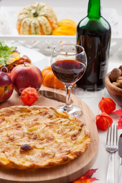 Appeltaart taart rode wijn dankzegging wijn leven Stockfoto © brebca
